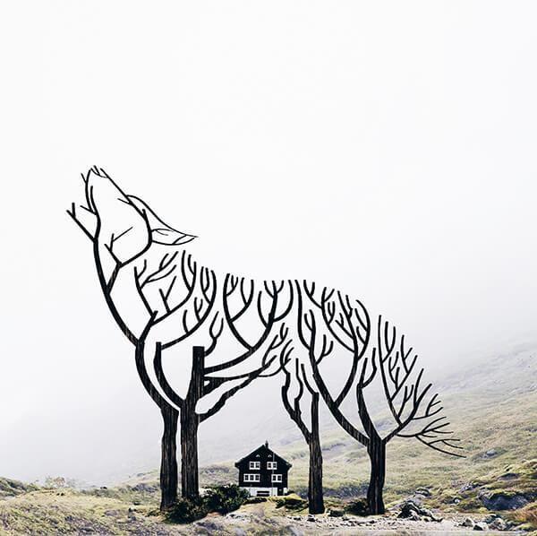 Árvores no formato de lobo. Foto manipulação de Luisa Azevedo