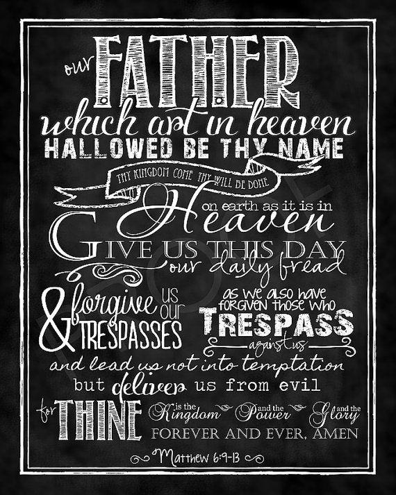 "Scripture Art - Matthew 6:9-13 Chalkboard Print ""The LORD's Prayer"" traditional version on Etsy, $15.00"