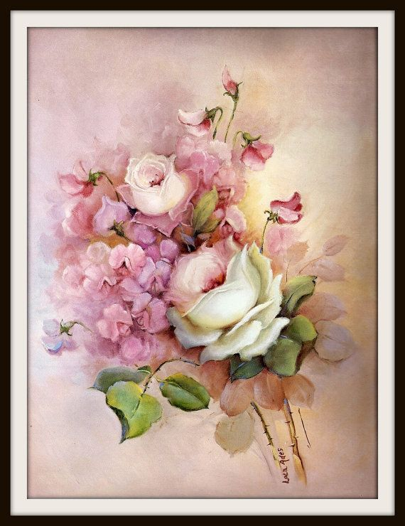 White Roses Pink Sweet Peas Still Life Book by GailsPrintCrafts