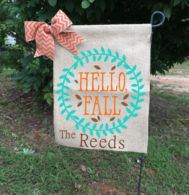 Hello Fall Flag, Fall Garden Flags, Welcome Garden Flag, Personalized Flags, Burlap Yard Flags, Turquoise Garden Flag, Gifts For Her by TallahatchieDesigns on Etsy https://www.etsy.com/listing/558570747/hello-fall-flag-fall-garden-flags