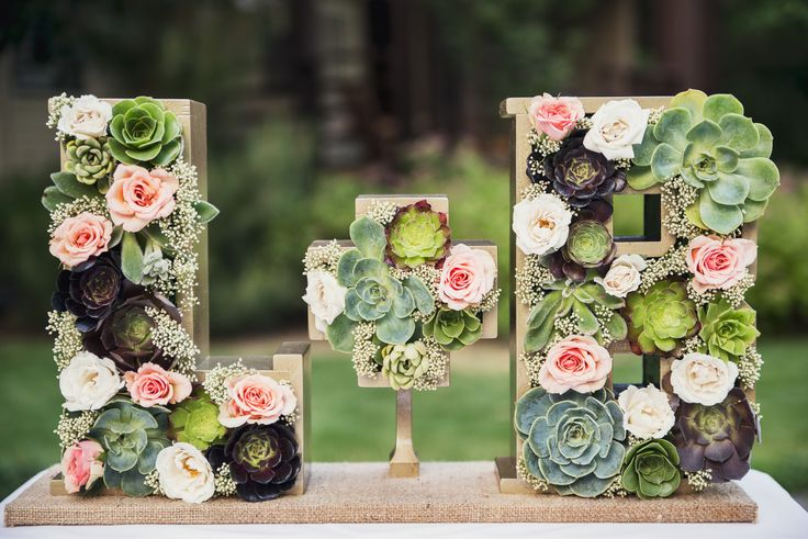Hollow Wood Initials with Garden Roses and Succulents