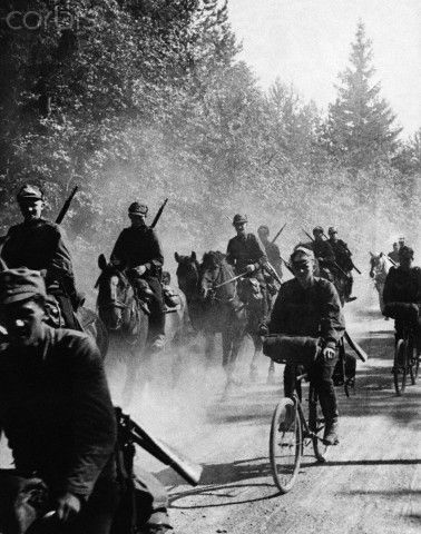 Finnish Soldiers Head for the Frontier 1939 - Owing to the intensity of the international situation and the Soviet demands on her country, Finland is calling up her men and building her army to War-time strength. Troops are being massed on her frontiers as protection against possible aggression. Cycles and horses are used by the men of Finland on their way to the frontiers.