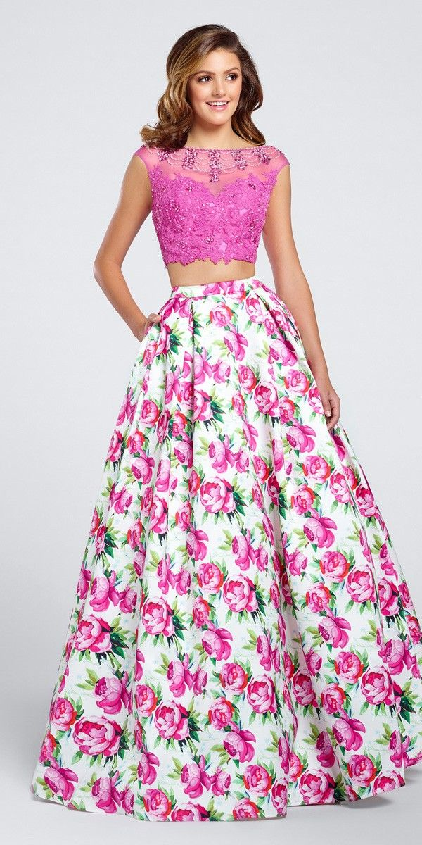 Flirty floral print prom dress with a pink lace bodice and A-line skirt.