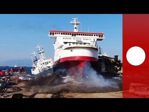 Watch a ship ground itself in a scrap yard. - Final destination: Ferry crashes into ship-breaking yard in Turkey