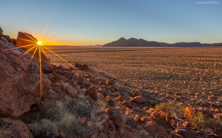 Nambia, Pustynia, Wzgórza, Wschód, Słońca, Kamienie