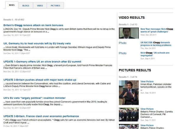 Search results are grouped by medium at Reuters    business information provider Reuters groups search results according to medium (news, blogs, video, or pictures) and displays them in separate panels. News items take precedence as the default content shown in the main panel, but this can be replaced by another content type by selecting the appropriate tab.