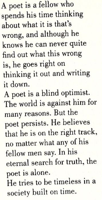"""Definition of a Poet"" by Jack Kerouac (1941, nineteen years old)"