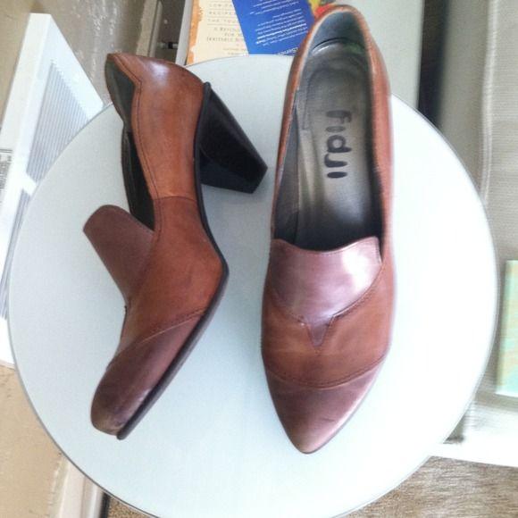 "Size 41 Fidji shoes heels Barely worn, made in Portugal Fidji heels. 2.5"" heel. Rubber soles, leather footbed, all leather upper. Absolutely beautiful. Fidji  Shoes Heels"