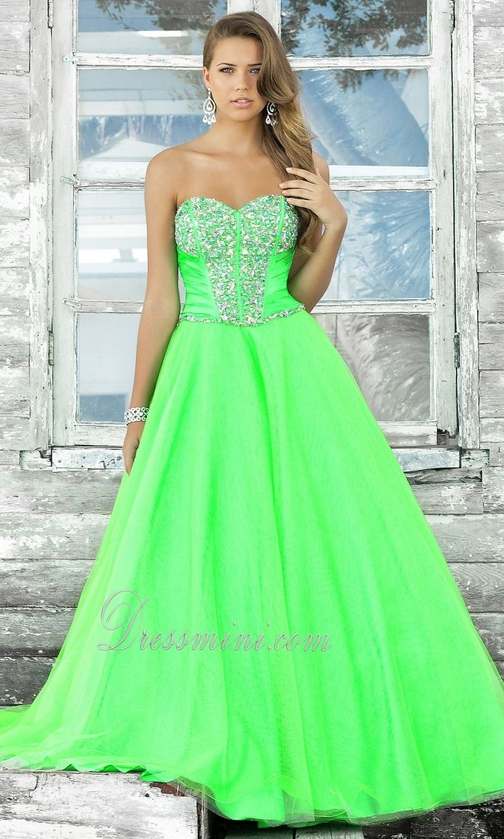 Blue and lime green prom dress