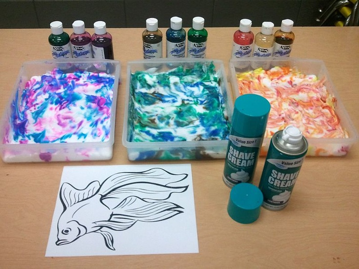 shaving cream with liquid watercolor! awesome