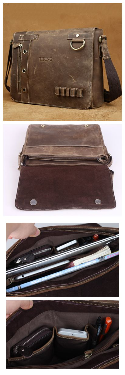 Handmade Hand Stitched Leather Messenger Bag, Mens Messenger Bag, Leather Accessories For Men and Women(C120) - Thumbnail 4