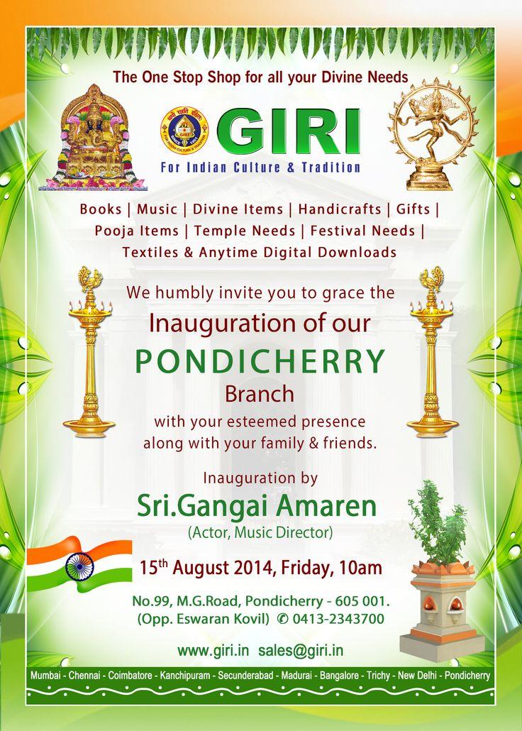 Our Pondicherry Branch will inaugurate by SRI. GANGAI AMARAN
