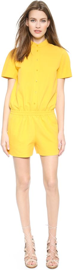 $238, Yellow Playsuit: Cédric Charlier Cedric Charlier Short Sleeve Romper. Sold by shopbop.com. Click for more info: https://lookastic.com/women/shop_items/260629/redirect