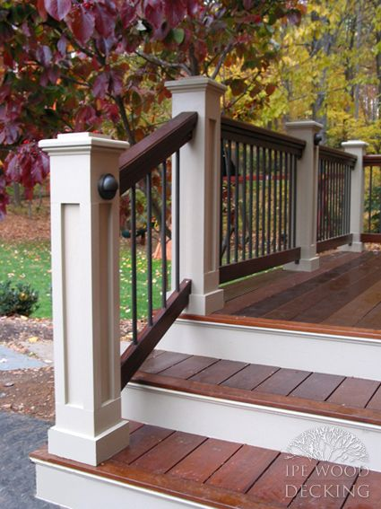 Wood Step White Riser In 2019 Porch Stairs Front Porch