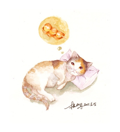 for cats, the most important thing is food and sleeping: Cats, Watercolor, Food, Sketches, Sleeping, Drawing