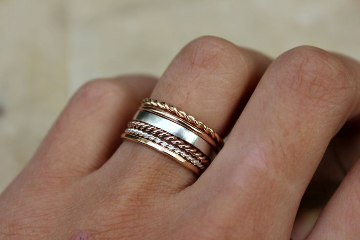 Initial rings, Gold twist rings, rose gold heart ring, stacking, DELUXE YOU PICK own set, customize your style. $23.00, via Etsy.