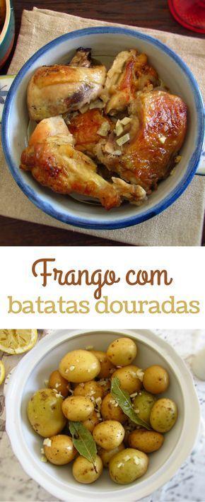 Frango com batatas douradas | Food From Portugal. O frango é uma carne deliciosa e muito simples de preparar, experimente-o no forno servido com batatas douradas. Os seus amigos e a sua família vão adorar… #receita #frango #batata