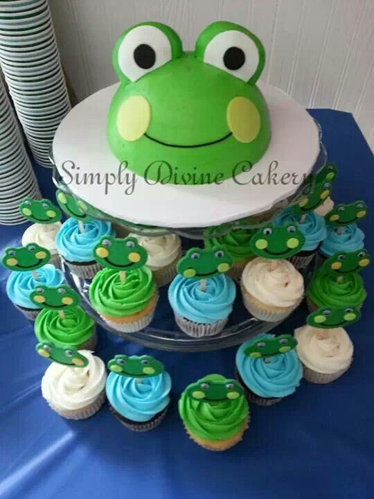 Buttercream frog smash cake & cupcakes with non edible picks