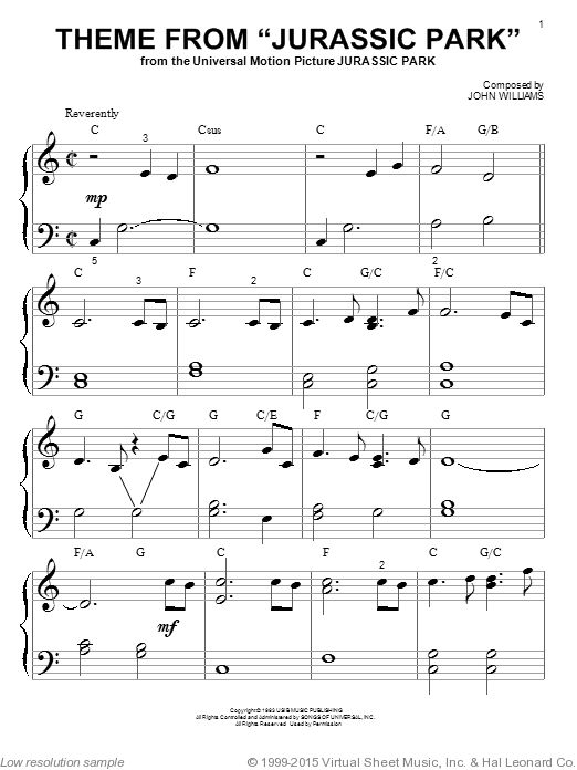 Williams - Theme From 'Jurassic Park'  for piano solo (big note book) interactive sheet music
