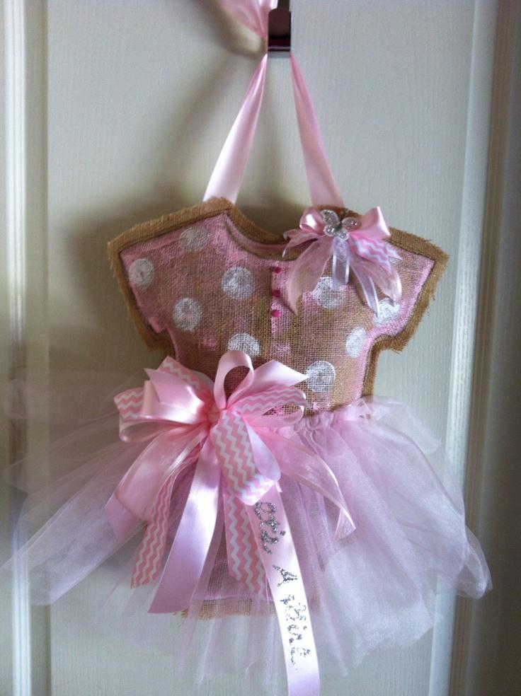 Baby burlap door hanger - so precious for a baby girl