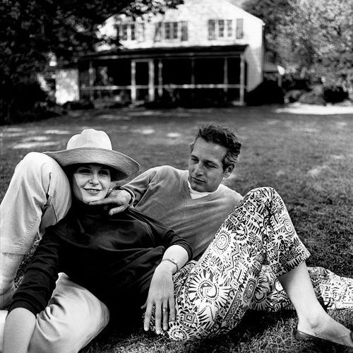 Paul Newman and Joanne Woodward, photographed by Bruce Davidson, 1965  - amazing how he looks at her