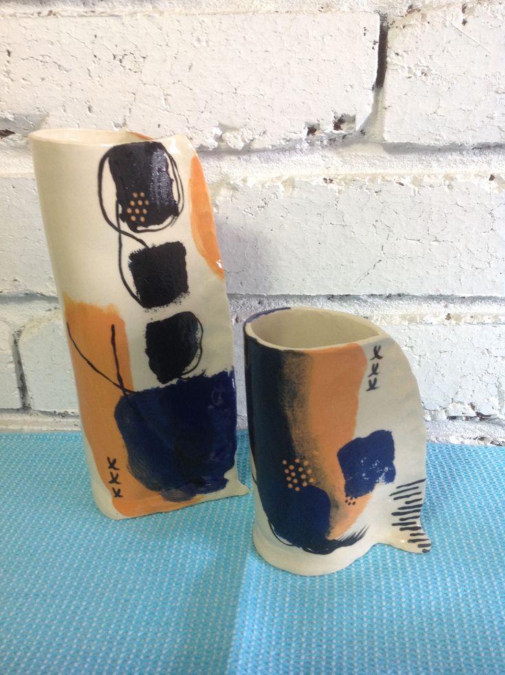 #handmade pottery #ceramics #vases # underglaze #finished product.