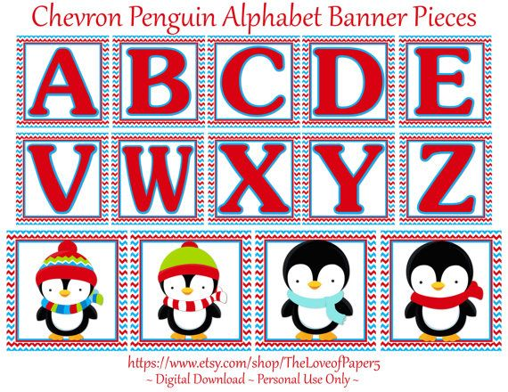Chevron Penguin Digital Alphabet Banner Pieces ~ Red and Aqua Birthday Party ~ ONEderland, Winter Birthday Party, Digital File, You Print,