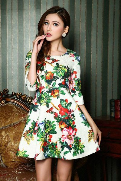 Exquisite High Waist Floral Dress in White [DLN0139] - PersunMall.com