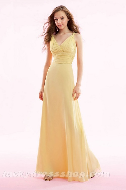 Yellow A-Line/Princess Long/Floor-length Chiffon Bridesmaid Dress With Lace-up (MW55H6)