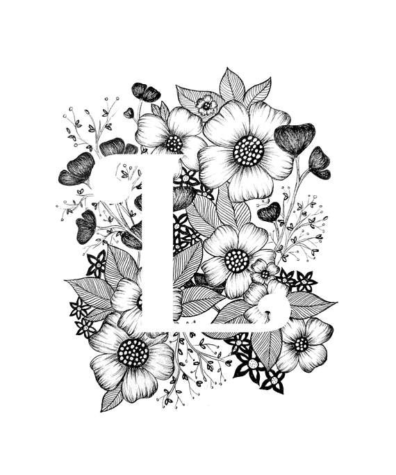 Letter L print (dark flowers) – Alphabet, Calligraphy, Typography, Monogram, Flowers – Black and White ink art print