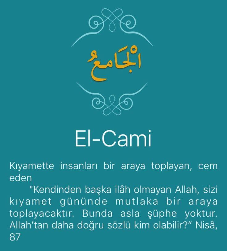 """Kıyamette insanları bir araya toplayan, cem eden      """"Kendinden başka ilâh olmayan Allah, sizi kıyamet gününde mutlaka bir araya toplayacaktır. Bunda asla şüphe yoktur. Allah'tan daha doğru sözlü kim olabilir?"""" Nisâ, 87   Allah, bütün faziletleri ve güzel nitelikleri kendinde toplamıştır. Parçaları bir araya getirip birleştirmiş, böylece onlara özel bir yapı kazandırmıştır. Birbirini seven kalpleri bir araya getiren de O'dur. ölümle birbirinden tamamen ayrılan ruh ve bedeni yeniden…"""