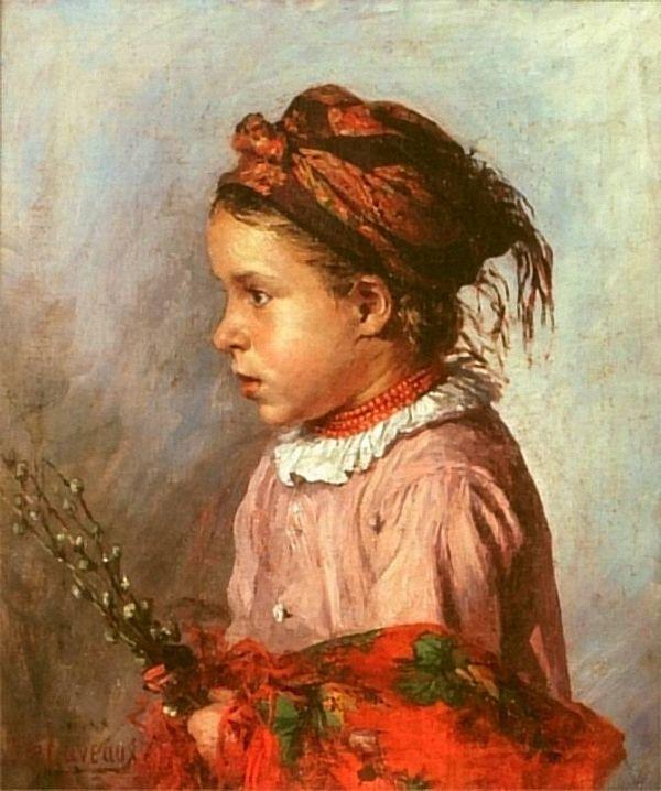 Ludwik de Laveaux (Polish, 1868-1894) Dziewczynka z baziami. 1887 г. Muzeum Narodowe, Szczecin