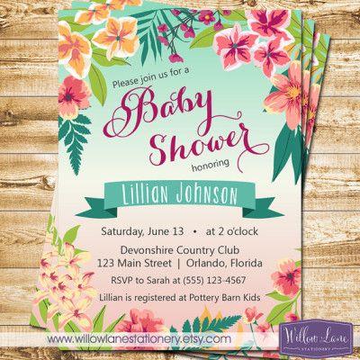 Tropical Baby Shower Invitation   Island Flowers Hawaiian Luau   Girl Baby  Shower Invite   Boy