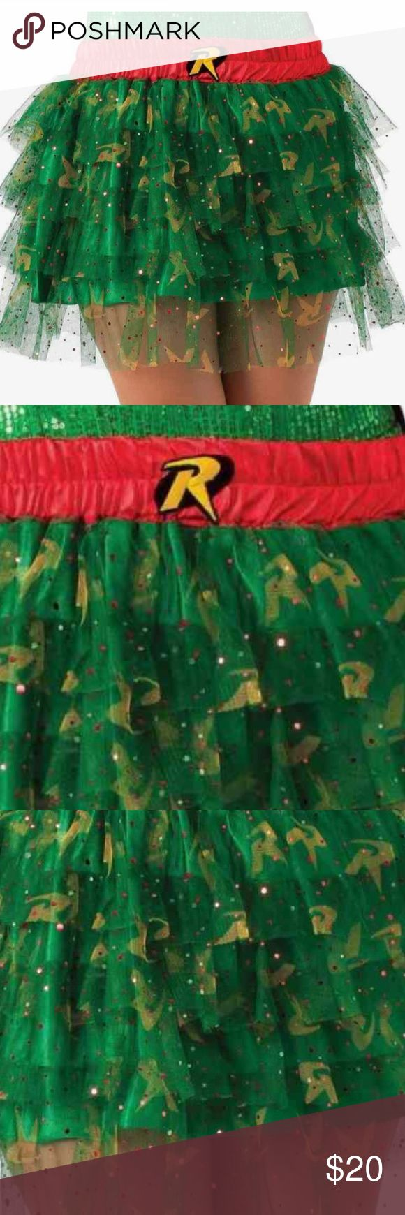 "Robin Tutu Skirt Batman Superhero Fancy Dress Robin Tutu Skirt Batman Superhero Fancy Dress Halloween Adult Costume Accessory   DESCRIPTION:  DC Comics ""Robin Tutu Skirt"" Adult Costume  Rubie's Costume Company Item # 887913/# 35079  Sizes Available: TEEN - STANDARD  This costume is new in its original package. It is part of the ""DC Comics"" line produced by Rubie's Costume Company. Keep in mind that packaged costumes tend to run slightly small...  This costume includes the following:  Sequin…"