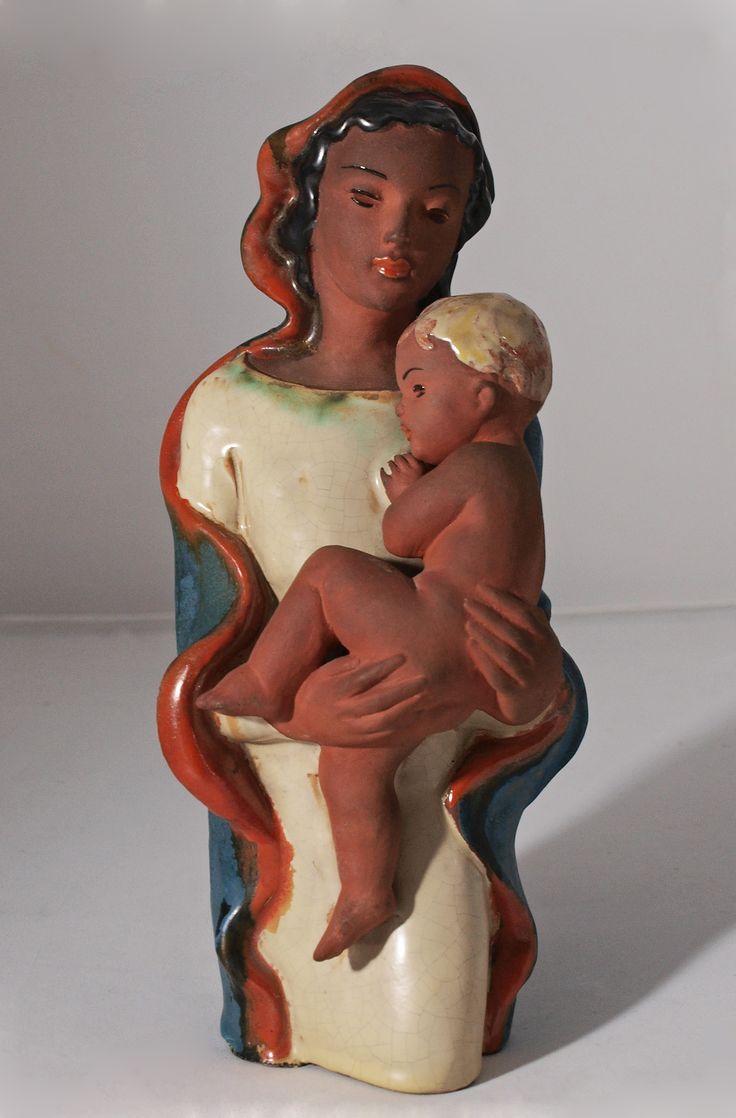 Art Deco Panna Maria s dítětem (Madona), Keramika Znojmo, Československo, 30. léta 20. století