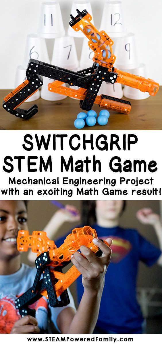 The Switchgrip Math Game - a mechanical engineering and math STEM challenge that has kids begging for more. An excellent way of practicing and developing fine motor and visuospatial skills while building a crazy fun toy, followed up with a math game that had the kids running multiplication drills happily over and over. #MathGame #STEMChallenge #MathSTEM #MechanicalEngineering via @steampoweredfam