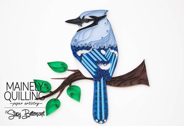Quilled Blue Jay  6x6  #bluejay #mainebirds #birdart #quilling #quillingart #quilledart #quilling #birds #maineartist #paperart #etsy