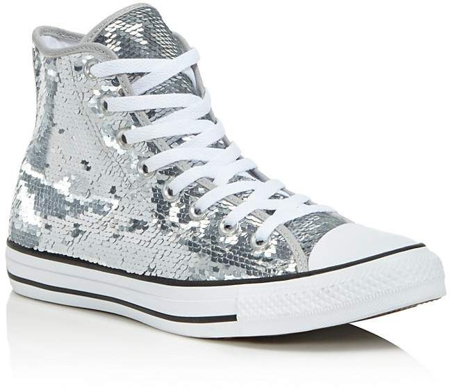 Star Hi Trainers Silver White Sequin