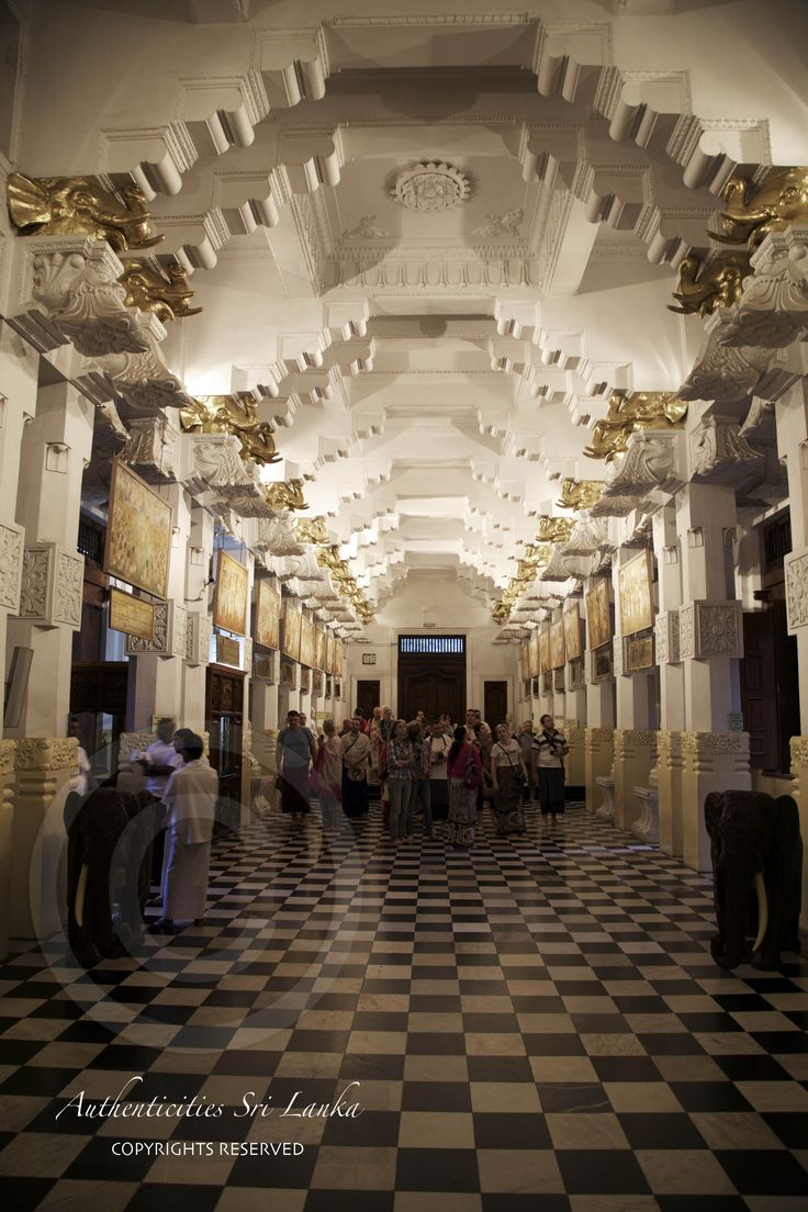a view of the main shrine room within the Kandy Temple of the tooth