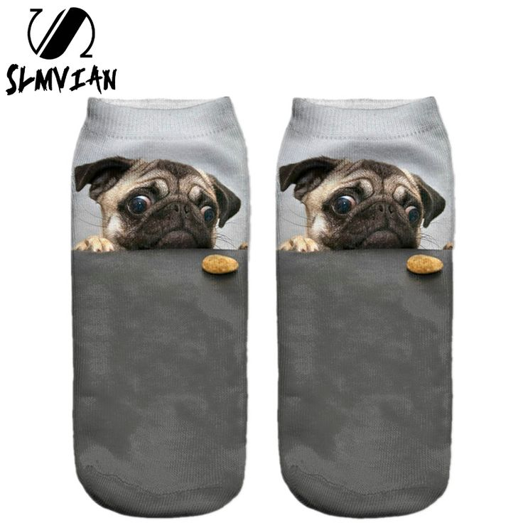 SLMVIAN 3D Print pug Hewan Kaus Kaki wanita Kaus Kaki Kasual kartun Unisex Low Cut Ankle Socks