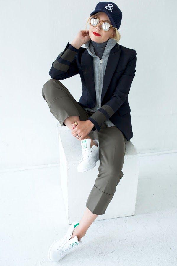 Jacket: Veronica Beard (on sale). Turtleneck: Theory (on sale). Pants: Phillip Lim. Shoes: Adidas (similar on sale). Sunglasses: Illesteva (on sale)