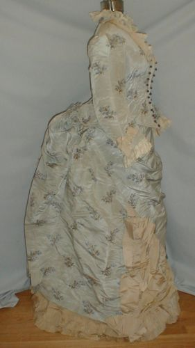 Striking 1880's Blue Floral Print & Taupe Silk Bustle Dress