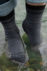 Crosspoint Waterproof Wool Crew - All the wonders of wool in a waterproof sock that feels like a sock but protects you like a rain bootie. Shower Pass' three layer design keeps your toes dry and cozy!