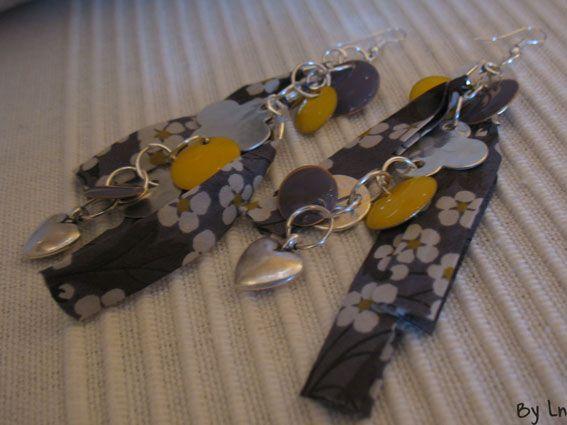 Boucles d'oreilles et bracelet en tissu liberty