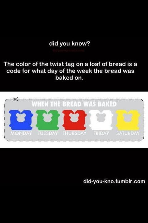 Wait, what color is Wednesday??? Apparently there is no bread baked on Wednesdays