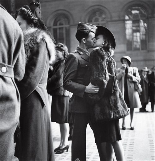 In 1944, LIFE's Alfred Eisenstaedt captured a private moment repeated in public millions of times over the course of the war: a guy, a girl, a goodbye — and no assurance that he'll make it back.