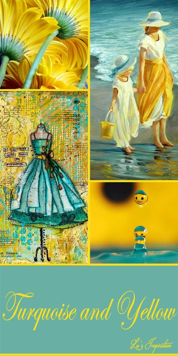 "Hi Ladies.  A very lovely board today.  Thank you for so many great pins. Tonight and tomorrow let's pin these pretty colors on this color  board. "" TURQUOISE AND YELLOW ""  Thank you and Happy Pinning. ❤"
