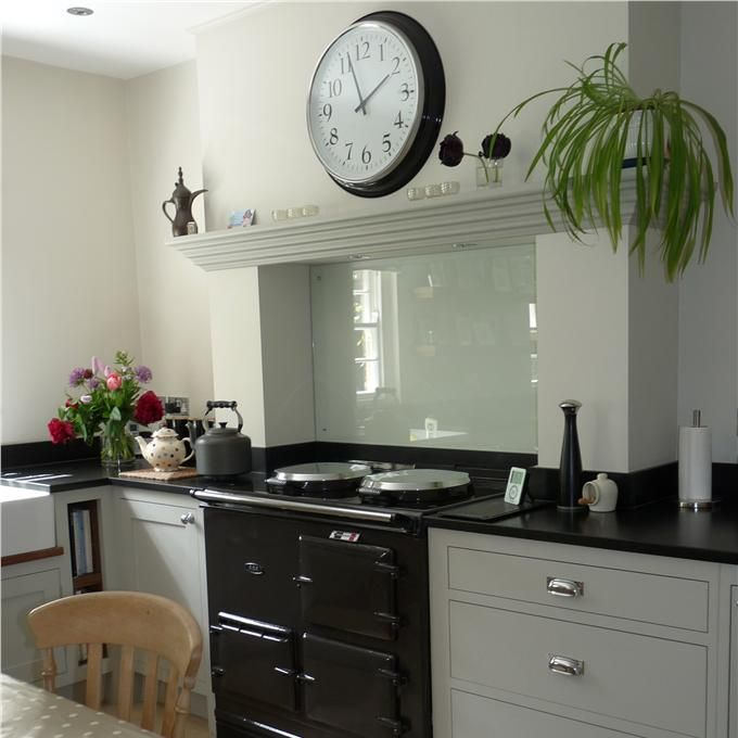 Slipper Satin Kitchen: so simple, so sweet like glass splash back for Aga and Aga surround