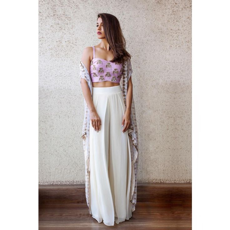 """3,804 Likes, 36 Comments - Arpita Mehta Official Page (@arpitamehtaofficial) on Instagram: """"The Mauve crop top, cream palazzo pant and geo print cape #arpitamehta #summerginkgo…"""""""