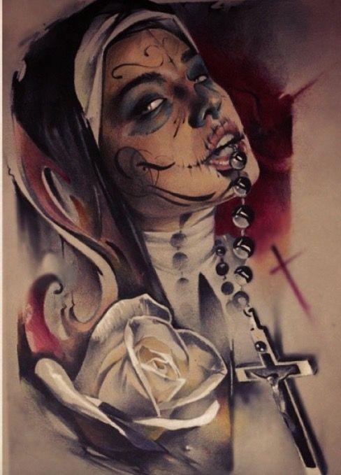 Chicano girl angel tattoo